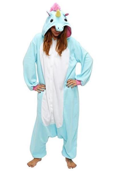 Combinaison pyjama licorne bleu