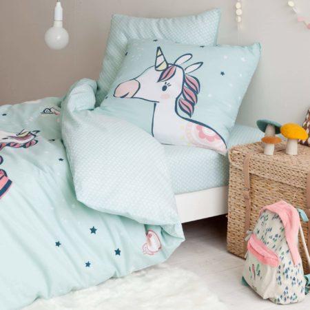 Parure de lit Drap housse licorne