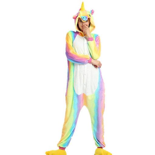 Pyjama licorne arc en ciel face